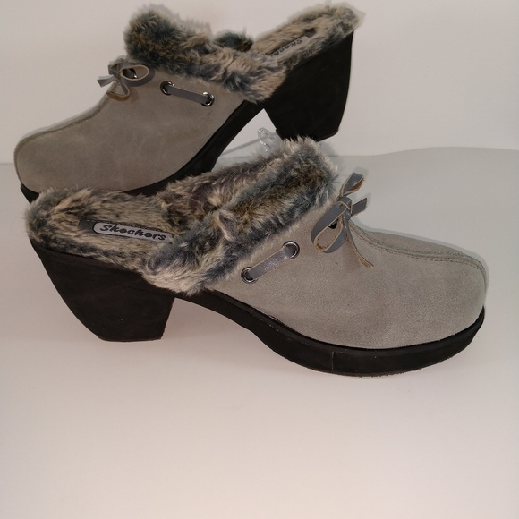 top design classic shoes clear and distinctive Sketchers Clogs Gray Faux Fur Lined Size 11